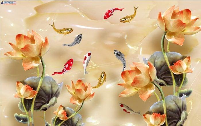Tranh kính cửu ngư - Tranh kính cá chép và hoa sen