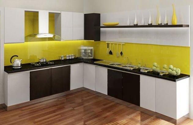Kính màu vàng ốp bếp với người mệnh Kim