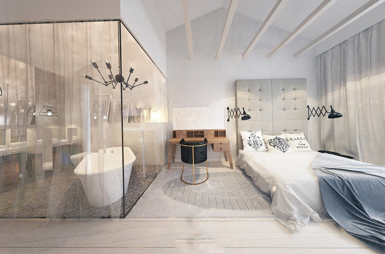 Sử dụng vách kính nhà tắm tạo điểm nhấn cho ngôi nhà